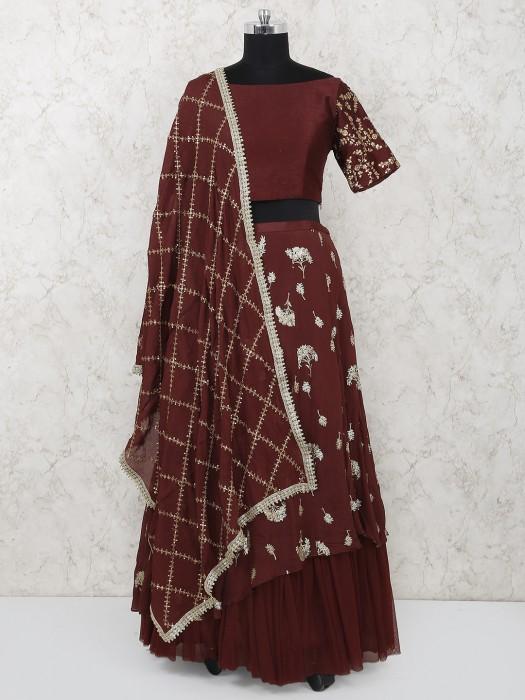 Wine Maroon Raw Silk Wedding Wear Lehenga Choli