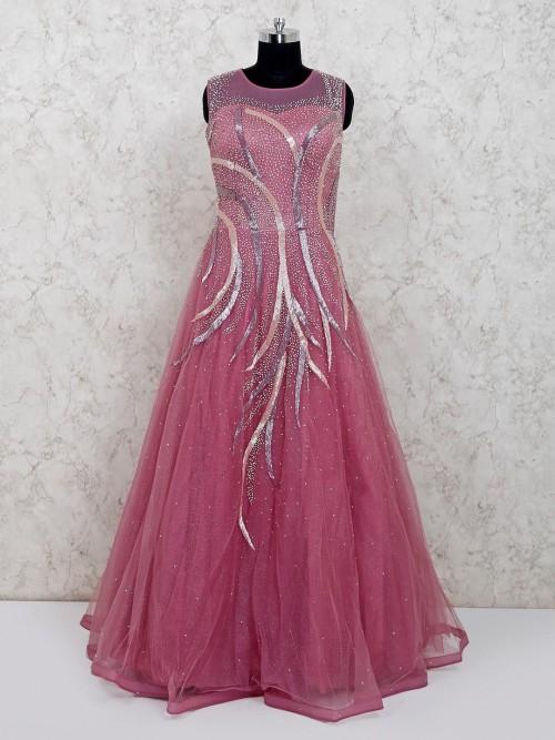 Wine Net Wedding Wear Floor Length Gown
