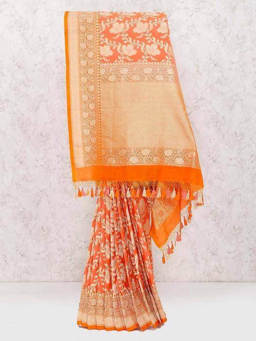 Wonderful Orange Banarasi Semi Silk Wedding Saree