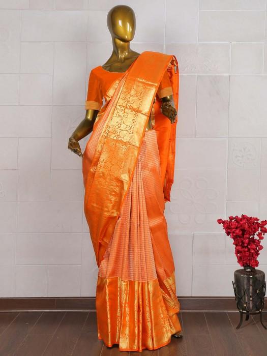 Wonderful Orange Kanjivaram Saree