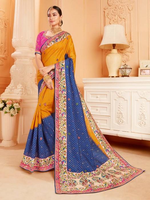 Wonderful Orange Raw Silk Wedding Saree