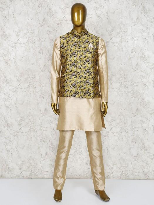 Yellow And Beige Printed Raw Silk Waistcoat Set