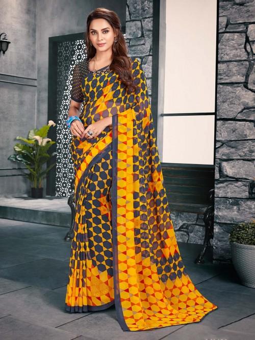 Yellow And Grey Printed Sari For Women