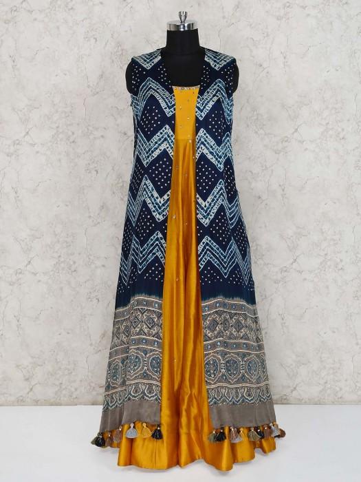 Yellow And Navy Jecket Style Cotton Silk Floor Length Anarkali