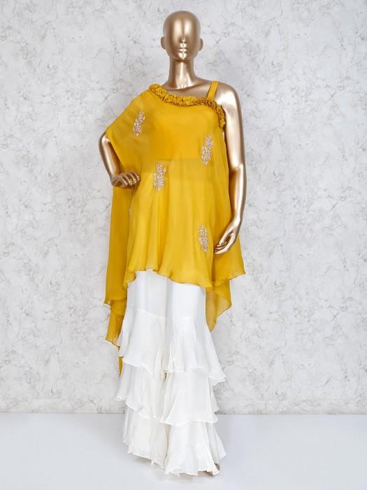 Yellow And White Punjabi Sharara Suit In Satin