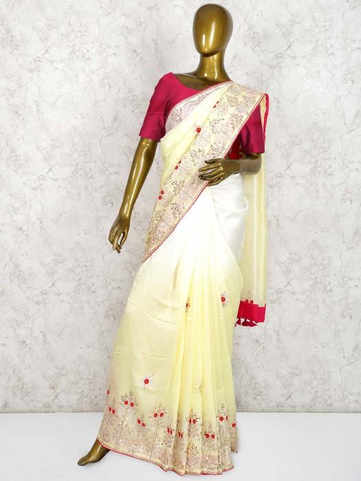 Yellow And White Shaded Saree In Muga Silk