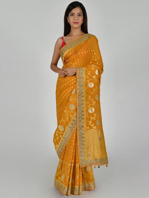 Yellow Art Dupion Silk Saree For Wedding Days