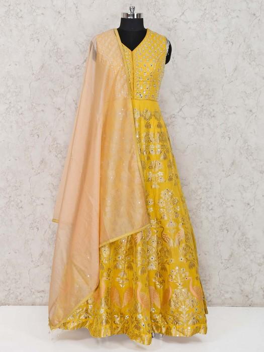 Yellow Banarasi Silk Designer Anarkali Suit
