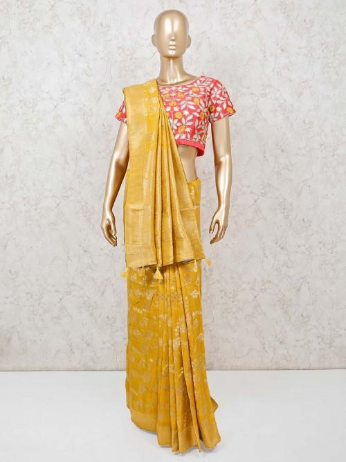 Yellow Banarasi Silk Saree With Ready Made Blouse
