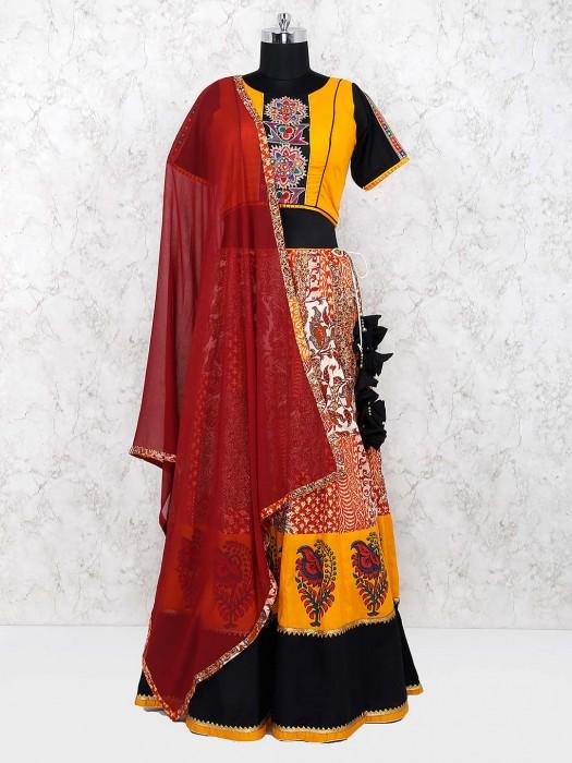 Yellow Color Beautiful Lehenga Choli In Cotton Fabric