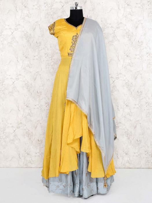 Yellow Color Cotton Silk Lehenga Cum Suit