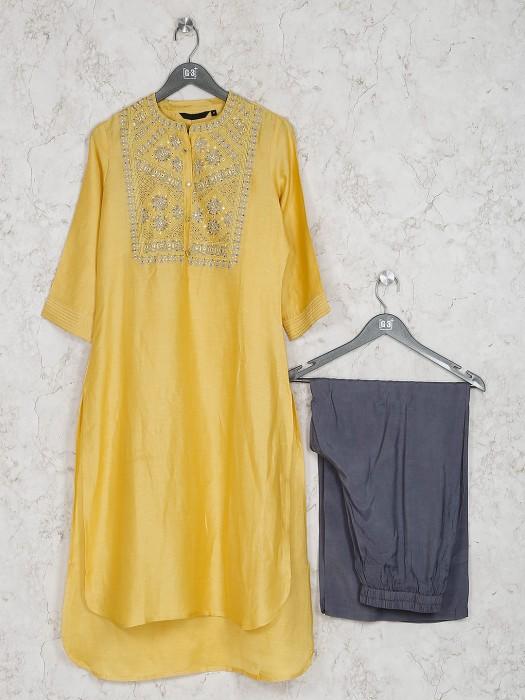 Yellow Color Kurti Set In Cotton Silk
