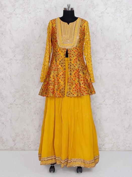 Yellow Color Printed Georgette Lehenga Cum Salwar Suit