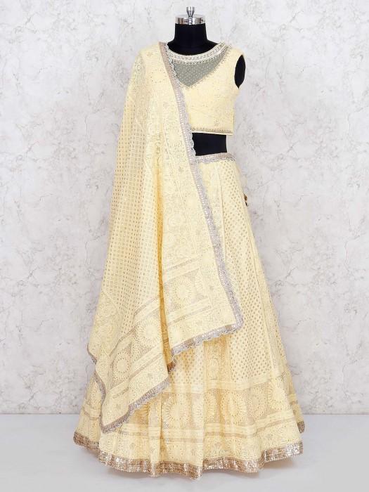 Yellow Color Wedding Georgette Lehenga Choli