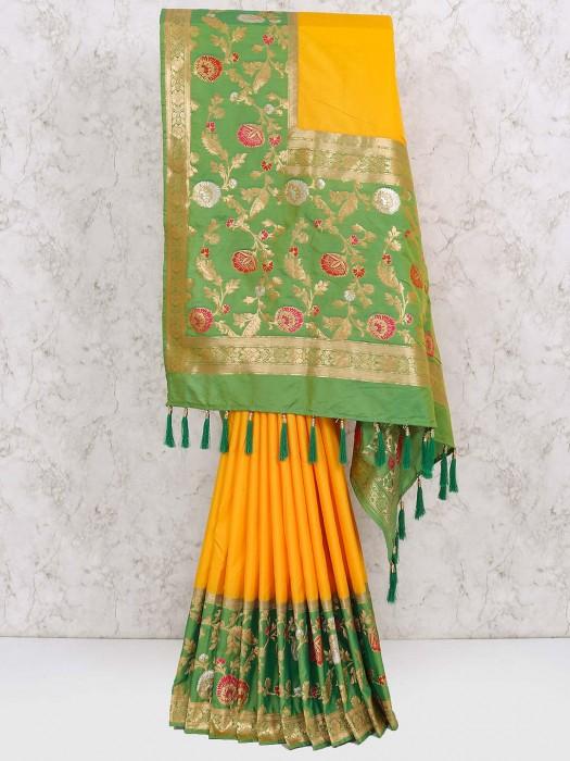 Yellow Color Wedding Saree In Semi Silk