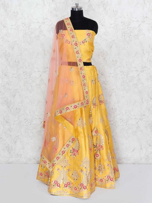 Yellow Color Wedding Silk Fabric Lehenga Choli