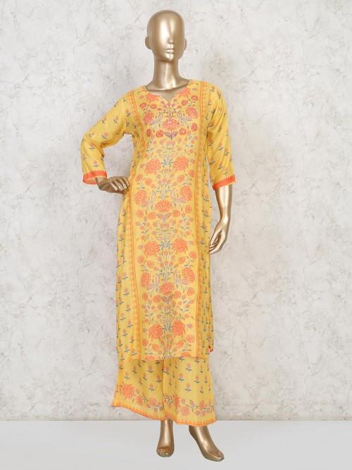 Yellow Cotton Festive Function Palazzo Suit