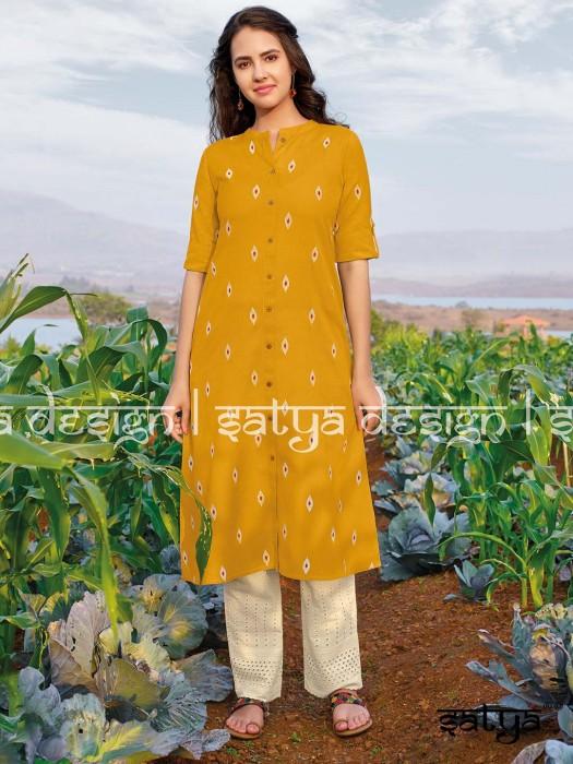 Yellow Cotton Quarter Sleeves Kurti