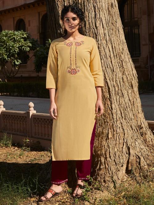 Yellow Cotton Quarter Sleeves Punjabi Suit