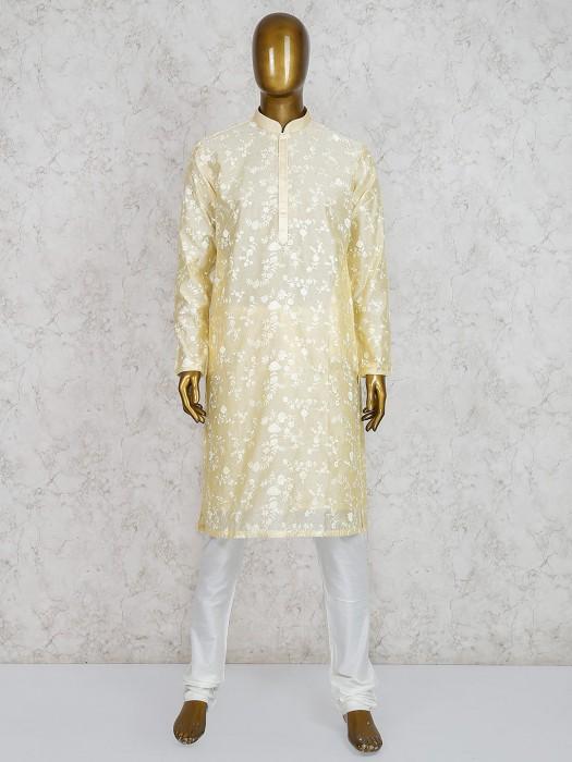 Yellow Cotton Silk Fabric Festive Kurta Suit