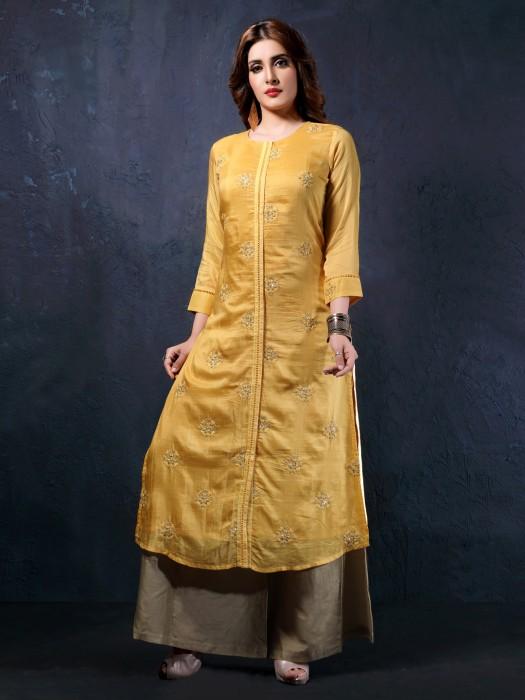Yellow Cotton Silk Fabric Festive Kurti