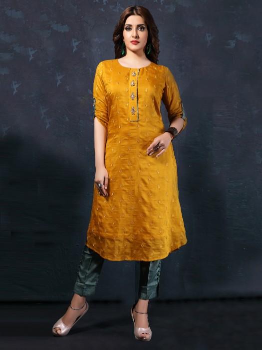Yellow Cotton Silk Fabric Kurti