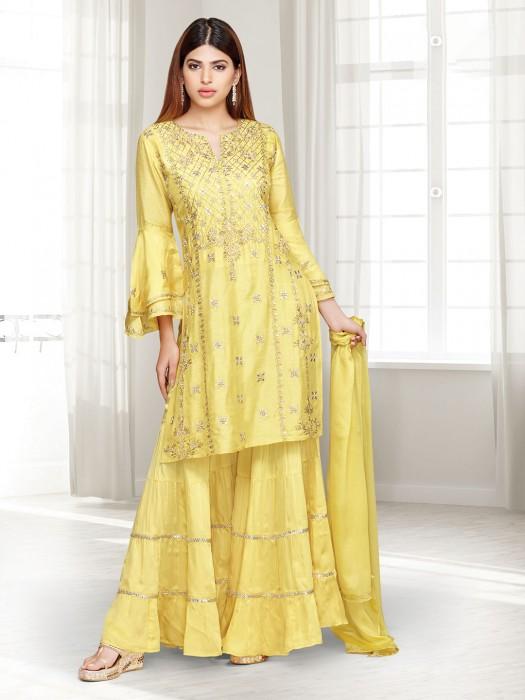 Yellow Cotton Silk Festive Punjabi Sharara Suit