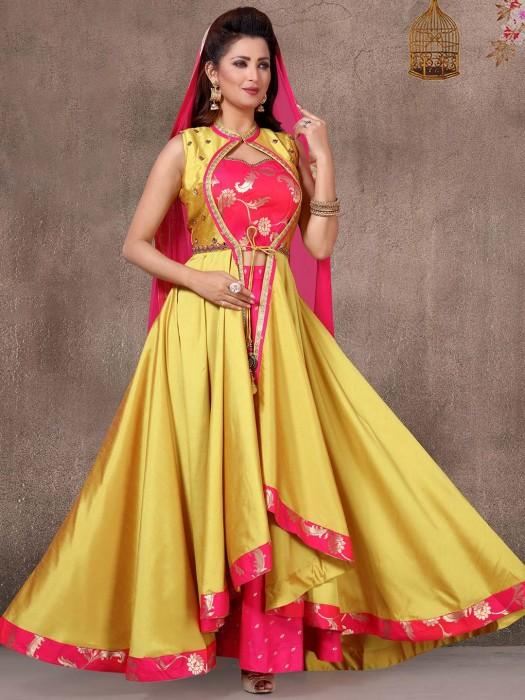 Yellow Cotton Silk Jacket Style Salwar Suit