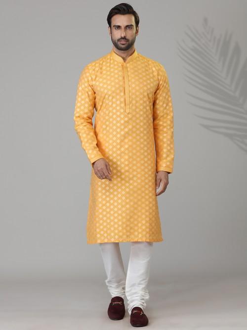 Yellow Cotton Silk Mens Kurta Suit With Zari Work