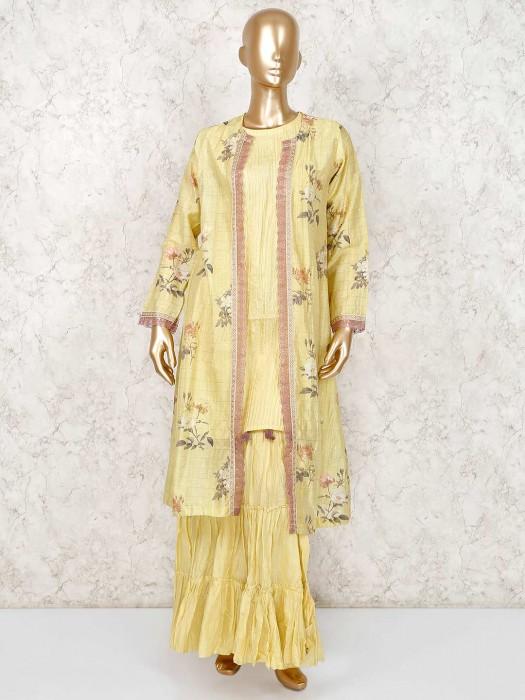 Yellow Cotton Silk Round Neck Punjabi Sharara Suit