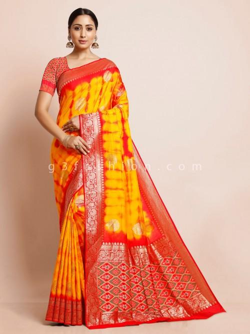 Yellow Cotton Silk Shibori Printed Saree For Festival