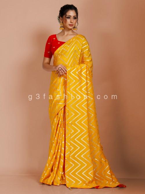 Yellow Dola Silk Latest Leheriya Saree