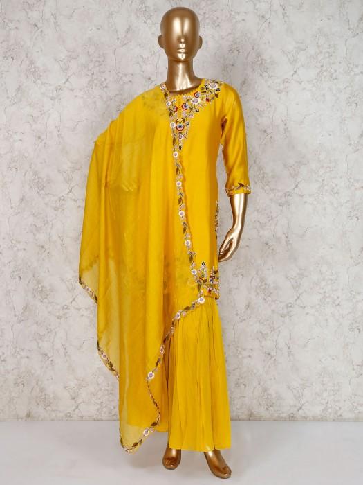 Yellow Embroidered Sharara Salwar Kameez In Cotton Silk