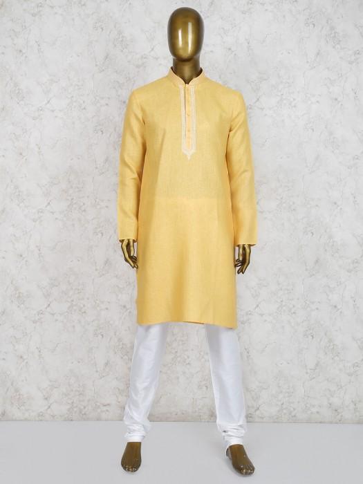 Yellow Festive Wear Cotton Kurta Suit