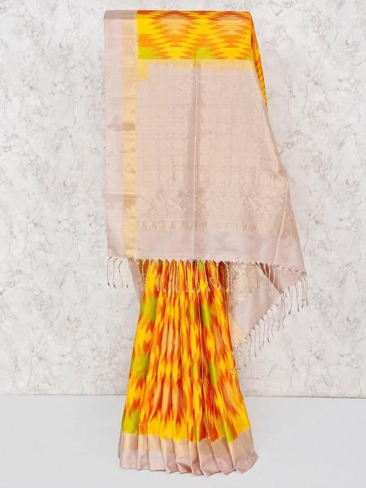 Yellow Festive Wear South Silk Ikkat Saree