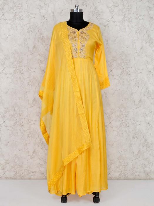 Yellow Floor Length Anarkali Suit In Cotton Silk