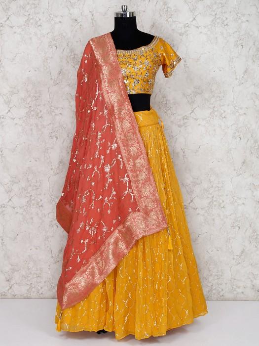 Yellow Georgette Lehenga Choli For Wedding