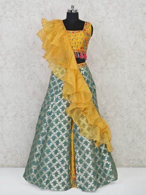 Yellow Green Raw Silk Wedding Wear Lehenga Choli