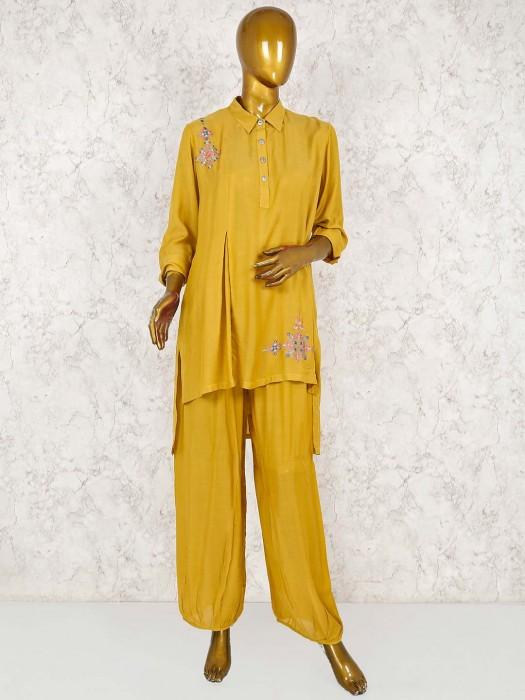 Yellow Hue Festive Wear Cotton Silk Punjabi Salwar Suit