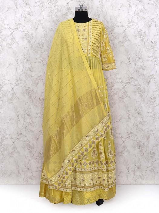 Yellow Hue Lehenga Cum Suit In Cotton