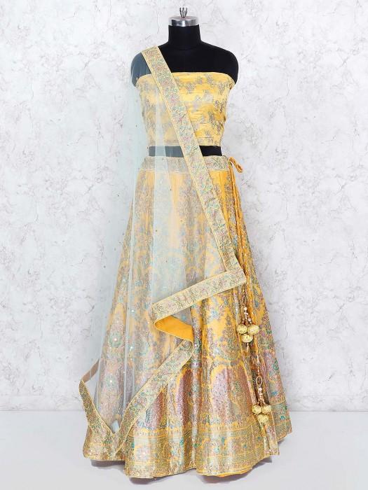 Yellow Hue Wedding Wear Silk Fabric Semi Stitched Lehenga Choli