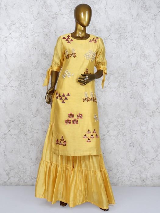 Yellow Hued Cotton Silk Punjabi Sharara Suit
