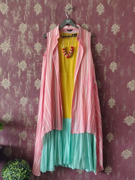 Yellow Kurta Dress With Pink Stripe Open Shirt Jacket
