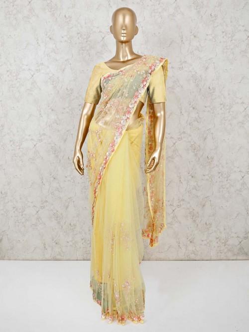 Yellow Net Saree For Wedding
