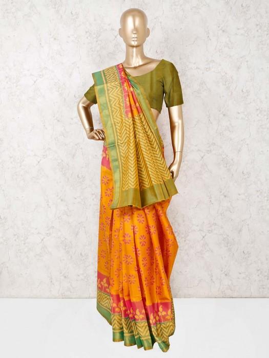Yellow Patola Silk Reception Saree
