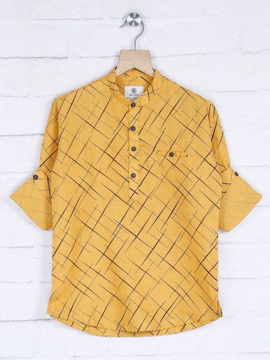 Yellow Printed Pattern Cotton Fabric Kurta