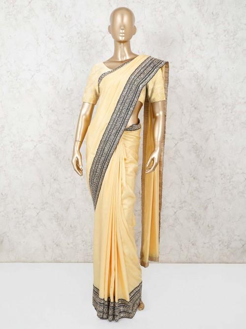 Yellow Saree In Satin Silk For Festive