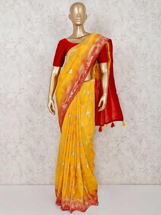 Yellow Semi Silk Prettiest Saree