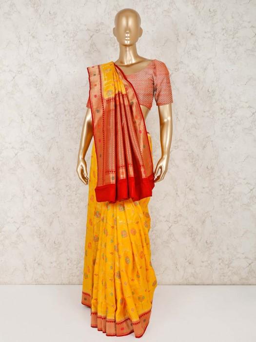Yellow Semi Silk Saree For Wedding