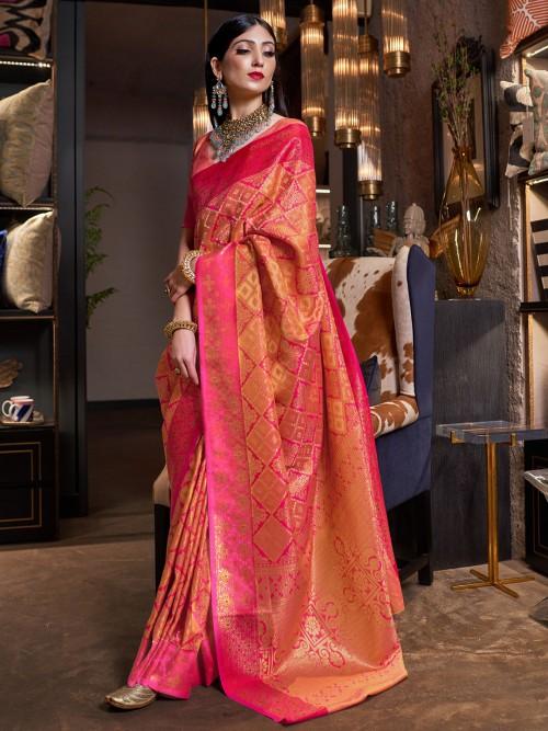 Yellow Soft Silk Saree For Wedding With A Zari Weaving